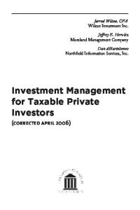 Investment Management for Taxable Private Investors