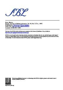 Journal of Biblical Literature 1937-2