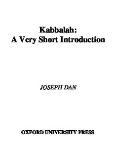 Kabbalah. A Very Short Introduction