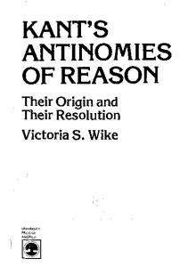 Kant's Antinomies of Reason : their origin and their resolution