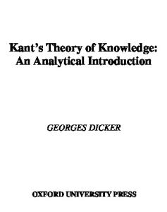 Kant's Theory of Knowledge: An Analytical Introduction