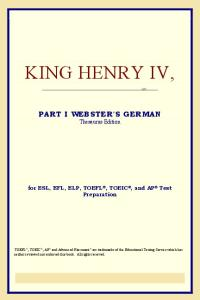 King Henry IV, Part I (Webster's German Thesaurus Edition)
