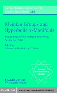 Kleinian groups and hyperbolic 3-manifolds