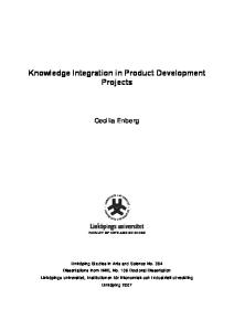 Knowledge integration in product development projects