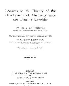 Ladenburg A. Lectures on the History of the Development of Chemistry Since the time of Lavoisier