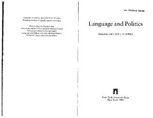 Language and Politics (Readings in Social and Political Theory)