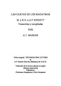 Las Cartas De Los Mahatmas