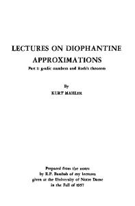 Lectures on Diophantine Approximations Part 1: g-adic numbers and Roth's theorem