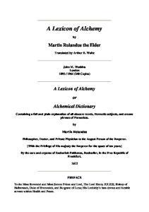 Lexicon of Alchemy
