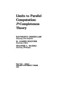Limits to Parallel Computation: P-Completeness Theory