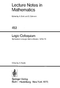 Logic Colloquium: symposium on logic held at Boston, 1972-73