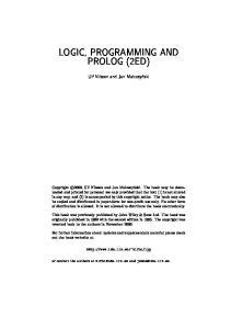 Logic, programming and Prolog