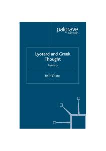 Lyotard and Greek Thought: Sophistry