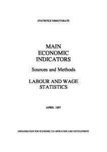 Main Economic Indicators Sources and Methods: Labour and Wage Statistics
