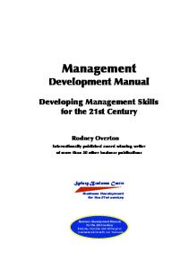 Management Development Manual: Developing Management Skills for the 21st Century