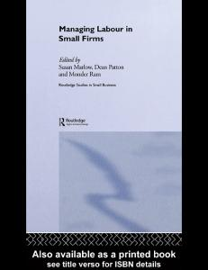 Managing Labour in Small Firms (Routledge Studies in Small Business)