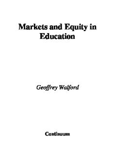Markets And Equity in Education