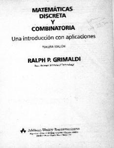 Matemáticas discreta y Combinatoria Una Introducción con Aplicaciones 3ed