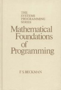 Mathematical Foundations of Programming