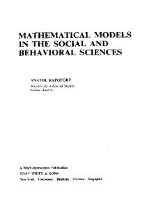 Mathematical Models in the Social and Behavioral Sciences