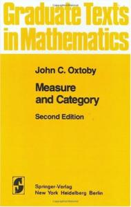 Measure and Category: A Survey of the Analogies between Topological and Measure Spaces: 002