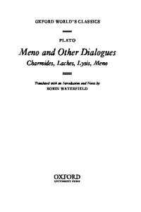 Meno and Other Dialogues