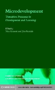 Microdevelopment: Transition Processes in Development and Learning (Cambridge Studies in Cognitive and Perceptual Development)