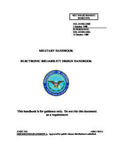 Military Handbook. Electronic Reliability Design Handbook