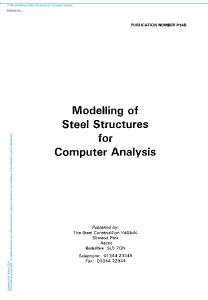 Modelling of Steel Structures for Computer Analysis