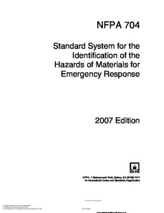 NFPA 704 - Standard System for the Identification of the Hazards of Materials for Emergency Response