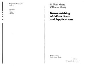 Non-vanishing of L-Functions and Applications (Progress in Mathematics)