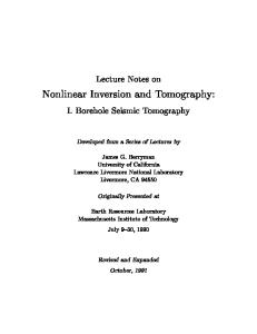 Nonlinear Inversion and Tomography