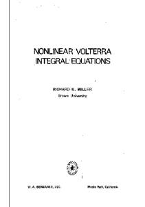 Nonlinear Volterra Integral Equations