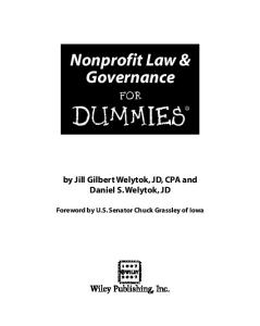 Nonprofit Law & Governance For Dummies