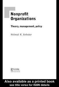 Nonprofit Organizations: Theory, Management, Policy