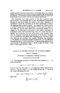 Note on a Generalization of Taylors Series