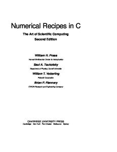 Numerical Recipes in C. The Art of Scientific Computing