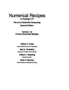 Numerical Recipes in Fortran 77: The Art of Scientific Computing, 2nd ed. (Fortran Numerical Recipes 1)