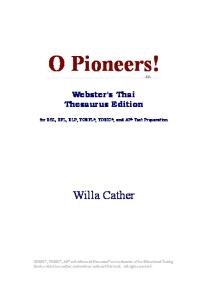 O Pioneers! (Webster's Thai Thesaurus Edition)