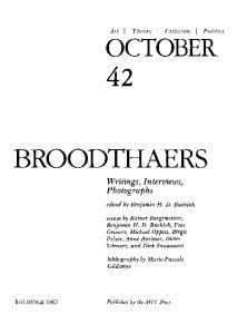 October journal No.42 Autumn (1987) - Marcel Broodthaers