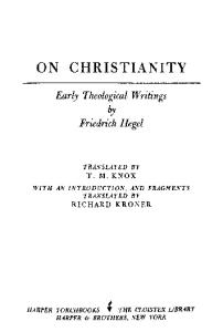 On Christianity: Early Theological Writings
