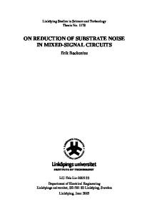 On reduction of substrate noise in mixed-signal circuits