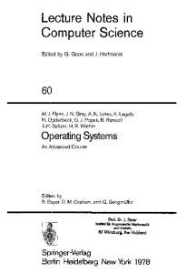 Operating Systems: Lecture Notes in Computer Science Vol 80