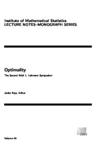 Optimality: The second Erich L. Lehmann symposium