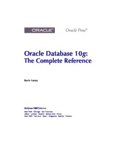 Oracle Database 10g. The Complete Reference