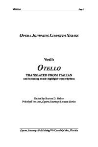 Otello (Opera Journeys Libretto Series)