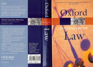 Oxford Dictionary of Law (Oxford Paperback Reference)