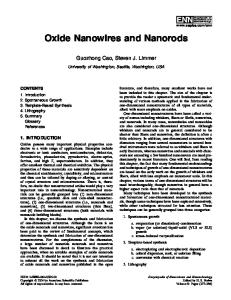 Oxide Nanowires and Nanorods