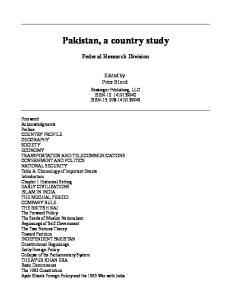 Pakistan, A Country Study