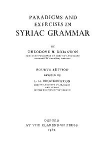 Paradigms and exercises in SYRIAC GRAMMAR